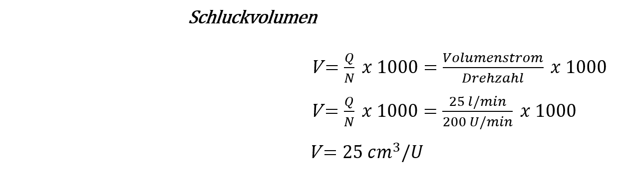 Schluckvolumen berechnen Hydraulikmotor
